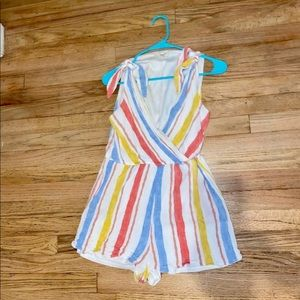 Beautiful Striped Coverstiched Romper MED